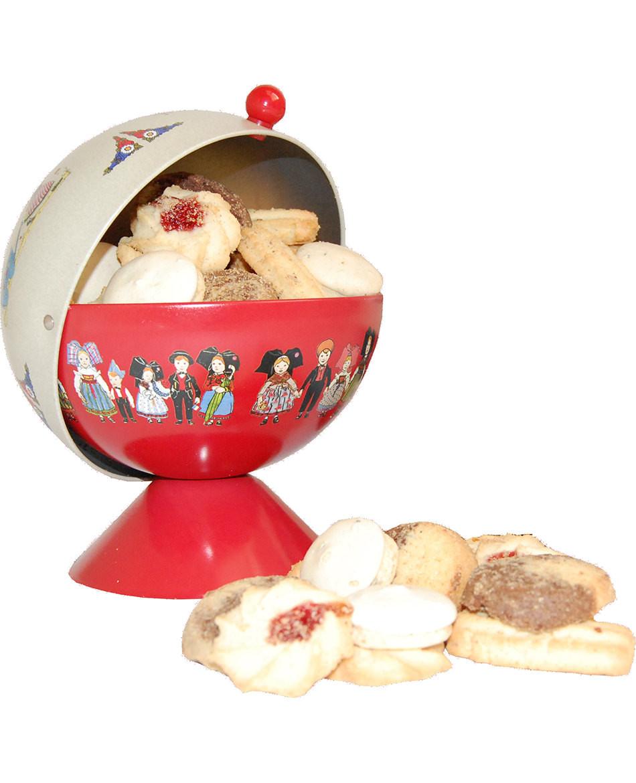 Rote Zuckerdose Hansi gefüllt mit Plätzchen