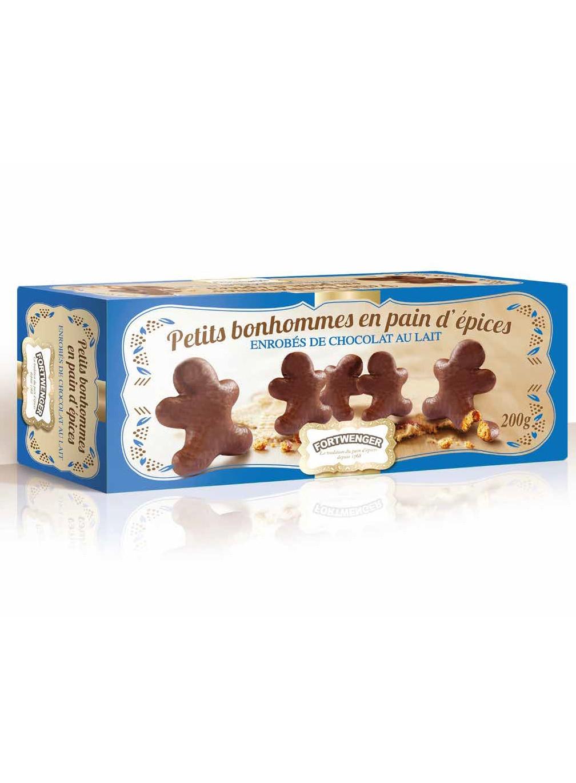 Lebkuchenmännchen von Milchschokolade ummantelt