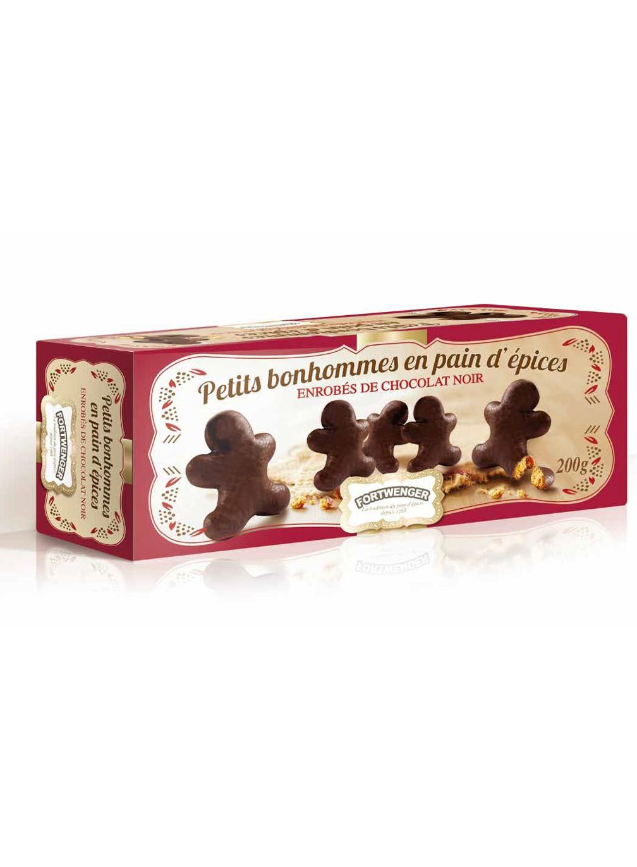 Lebkuchenmännchen von dunkler Schokolade ummantelt